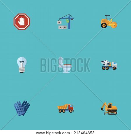 Flat Icons Hoisting Machine, Mitten, Van And Other Vector Elements