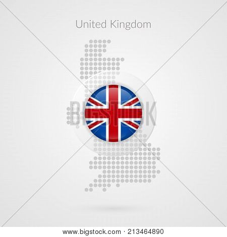 United Kingdom map dotted vector sign. Britain isolated symbol. British illustration icon for marketing presentation project business sport event travel concept web design