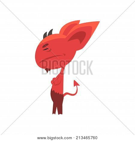 Offended red devil turned away, standing with arms crossed. Demon character with big ears, little horns and tail. Isolated vector illustration. Flat design for network emoji, print, sticker, card.