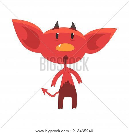 Shocked or surprised red devil character isolated on white. Little horned demon from hell. Cartoon vector illustration in flat style. Design for social network message, sticker, card, kid shirt print.