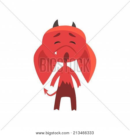 Little red devil with droopy ears showing very upset face expression. Cute fictional monster character. Flat design for network emoji, print, sticker, card or poster. Isolated vector illustration.