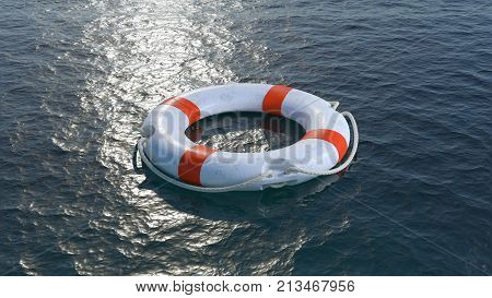 White lifebuoy with red strips in sea. Help concept.