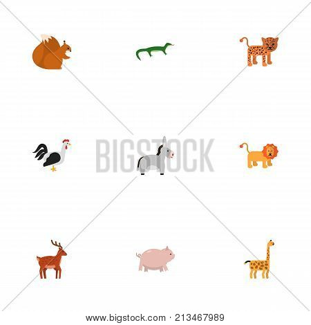 Flat Icons Camelopard, Wildcat, Swine And Other Vector Elements poster