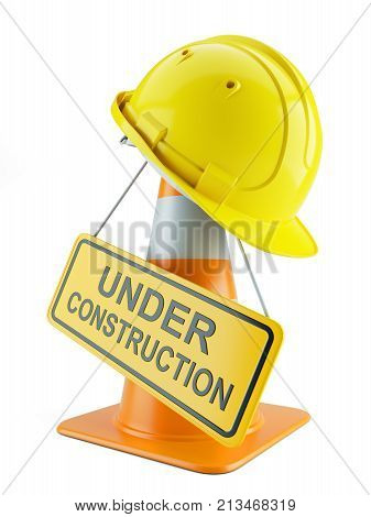 Construction Helmet On Traffic Cone And Signboard