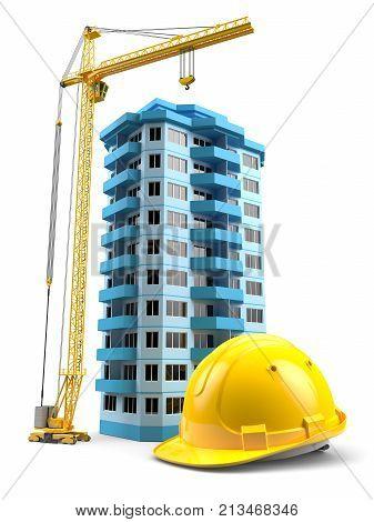 Construction Tower Crane, Helmet And Model House