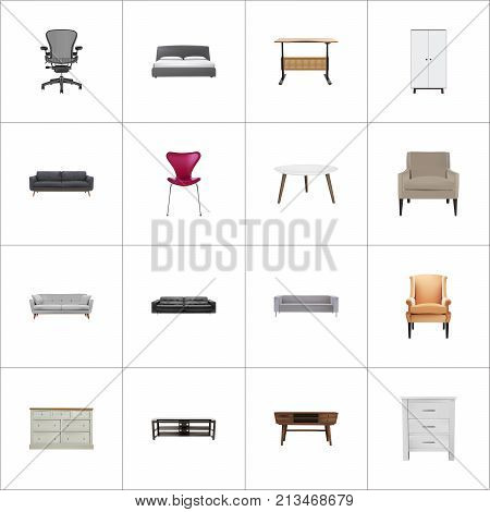Realistic Comfortable, Commode, Lounge And Other Vector Elements