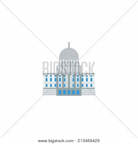 Flat Icon Capitol Element. Vector Illustration Of Flat Icon Government Isolated On Clean Background