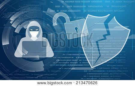 Data protection theme abstract image. Including hacker, lock, shield, binary code and circles. Used clipping masks.