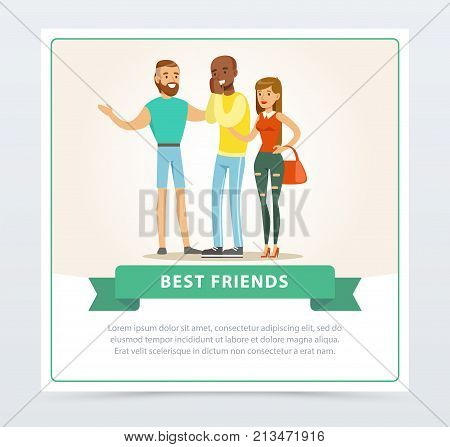 Tree friends having fun at meeting, best friends banner flat vector element for website or mobile app with sample text
