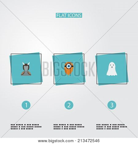 Flat Icons Halloween, Avatar, Fire And Other Vector Elements