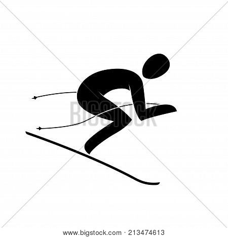 Silhouette of alpine downhill skier giant slalom descending down slope isolated. Winter sport games discipline. Black and white flat slyle design vector illustration. Web pictogram icon symbol
