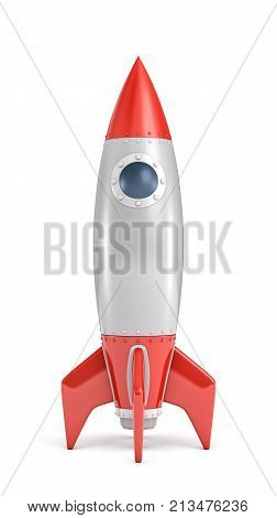 3d rendering of a single silver and red rocket ship with a round porthole isolated on a white background. Space exploration. Space ships. Fly to moon.