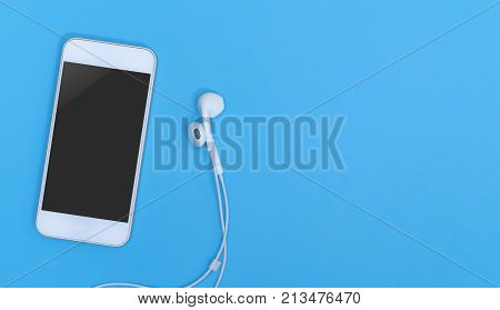 Empty Mobile phone screen with Music earphone on blue copy space for poster and text