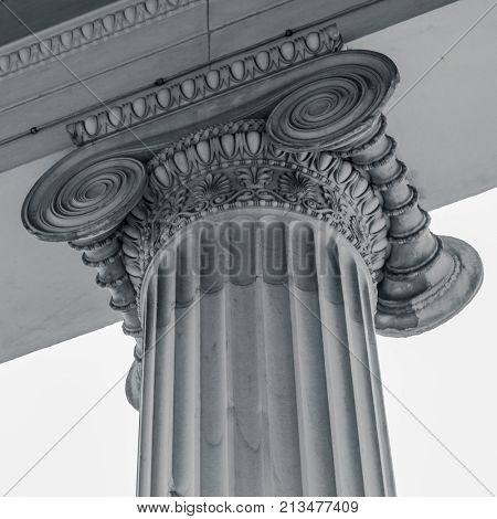 Vintage Old Justice Courthouse Column.