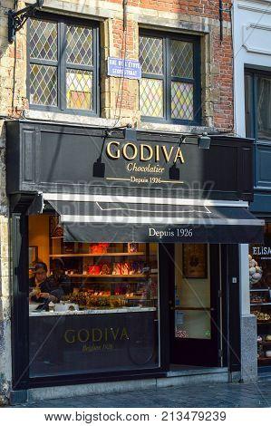 Brussels, Belgium - April 2015: Outlet Of Godiva, A Manufacturer Of Premium Fine Belgian Chocolates,