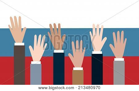Vote for Russia. People reaching hands for voting.