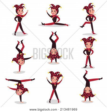 Set of joker cartoon character actions. Boy clown in black and red costume, cap and bells. Traditional jester or festival fool wear. Acrobatic performance. Flat vector illustration isolated on white.