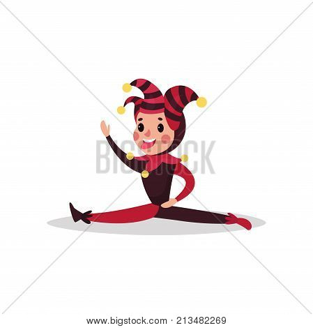 Smiling jester flat cartoon character doing split. Boy clown in black and red costume, cap and bells. Joker or festival fool wear. Circus worker. Acrobatic performance. Vector isolated on white.