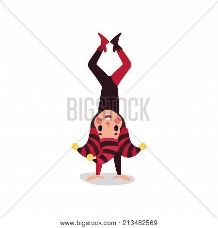 Cheerful joker flat character standing upside down. Boy jester in black and red costume, cap and bells. Traditional festival fool wear. Comedy artist, acrobatic performance. Vector isolated on white.