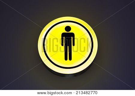 Toilet, wc for men sign. Male concept. Copy space