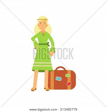 Flat cartoon blonde woman hippie character standing near retro suitcase. Happy flower child female in green dress. Youth movement. Sixties hippy subculture. Love and pacifism. Vector isolated on white