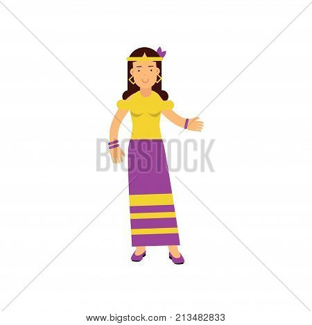 Flat cartoon woman hippie. Happy and carefree female with long brown hair, dressed in long purple skirt and yellow t-shirt. Summer of love. Sixties hippy subculture. Flower child. Vector on white