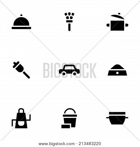 Abstract monochrome symbols of household services. Personal driver and gardener, nurse, cooking. Symbolic black glyph simple style vector icons set.