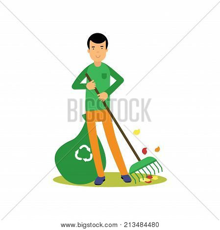 Happy man cleaning and raking leaves. Contributing into environment preservation. People who protect nature. Volunteer male, ecology, environment concept. Flat character vector isolated on white.