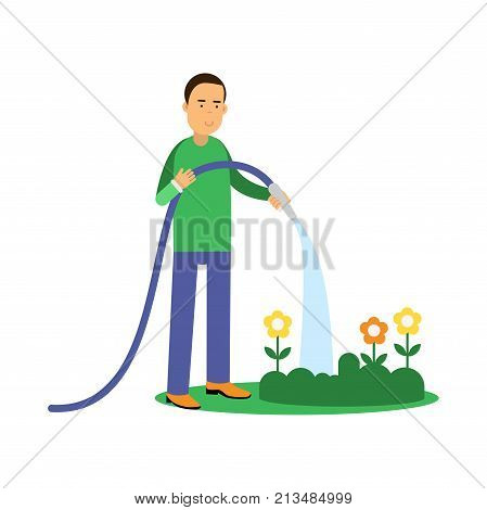 Happy man cartoon character watering flowers from a hose. Contributing into environment preservation. People who protect nature. Gardening and harvesting. Flat vector illustration isolated on white.