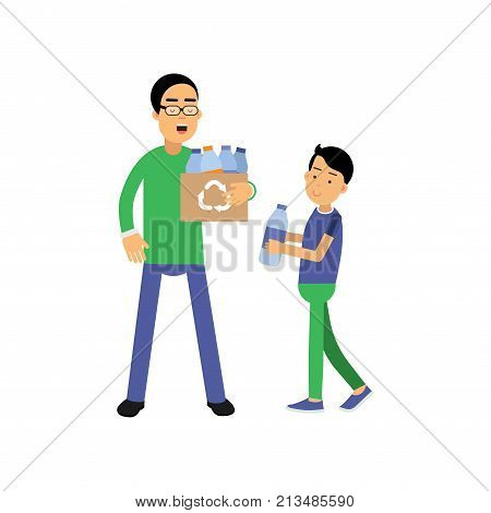 Father and son volunteers cartoon characters collecting plastic bottles for recycling. Contributing into environment preservation. People who protect nature. Flat vector illustration isolated on white