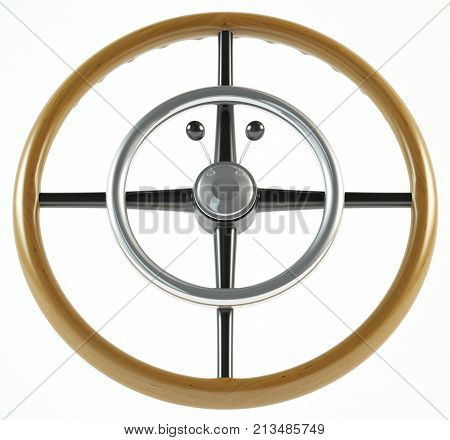 vintage steering wheel on a white background 3d illustration