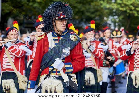 Soldiers Playing Flute In Tamborrada Of San Sebastian. Basque Country, Spain.