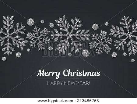 Merry Christmas Happy New Year greeting card design with silver snowflake decoration for holiday season. Vector