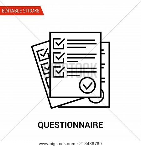 Questionnaire Icon. Thin Line Vector Illustration - Adjust stroke weight - Expand to any Size - Easy Change Colour - Editable Stroke - Pixel Perfect