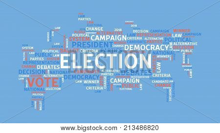 Election word cloud. Vote and democracy, people and government.