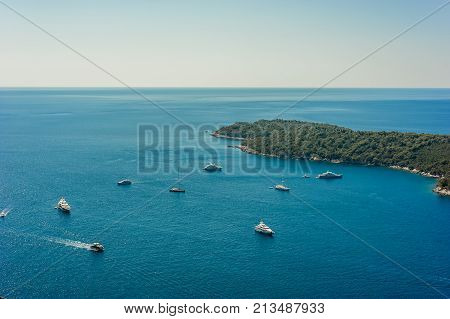 Beautiful areal panorama of Adriatic Sea with yachts and ships in Dalmatia Coast, Dubrovnik, Croatia, Europa. The coast line of the Dubrovnik Old Town.
