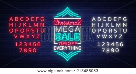 Christmas sale template design in neon style neon sign banner. Cover, flyer, bright, illuminated advertising sign on the night discounts for your projects. Vector illustration. Editing text neon sign.