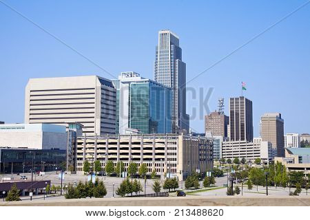 Morning In Omaha - Skyline Of The City. Omaha Nebraska Usa.