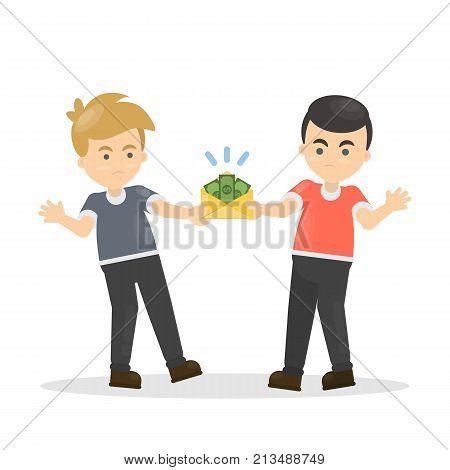Fighting for money. Men pulling envelope with money.