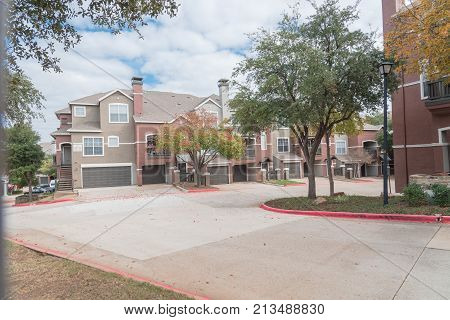 Typical Apartment Complex Building In North Texas, Usa During Fall Season