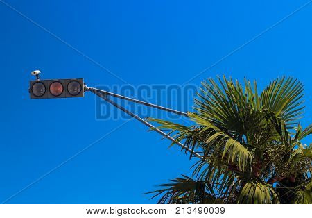 traffic lights on sky background, the traffic lights in horizontal position, Palma and the traffic light