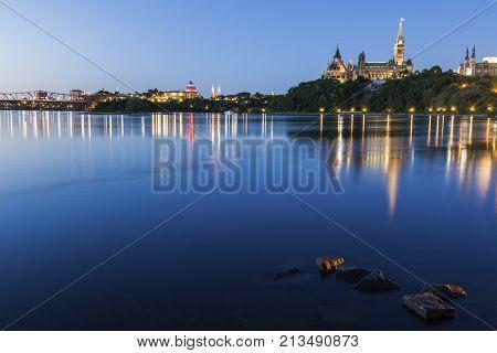 Parliament Hill and Ottawa River. Ottawa Ontario Canada.