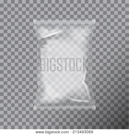Transparent foil bag packaging for food, snack, coffee, cocoa, sweets, crackers, nuts, chips. Vector plastic pack mock up for your design