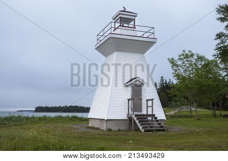 Grandique Point Lighthouse in Nova Scotia. Nova Scotia Canada.
