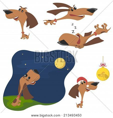 Funny Cartoon Puppy in Different Poses. Puppy run, puppy sit, puppy in the hat of Santa. Vector Illustration
