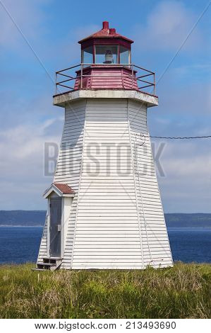 Gabarus Lighthouse in Nova Scotia. Nova Scotia Canada.