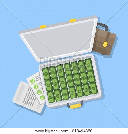 Isolated grey case with money and documents.