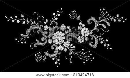 Realistic white vector embroidery fashion patch. Flower rose daisy leaves vintage victorian design. Stitch texture floral arrangement clothes decoration illustration art