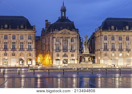Place de la Bourse in Bordeaux. Bordeaux Nouvelle-Aquitaine France.