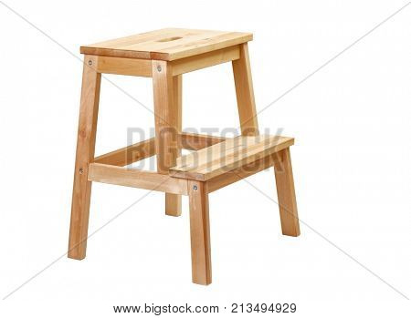 Wooden step ladder on white background
